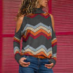 High Neck Cut Out Abstract Print Sweater