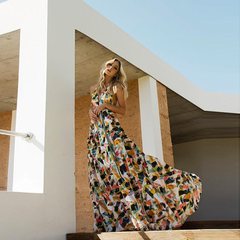 Sexy Halter Backless Abstract Print Maxi Dress