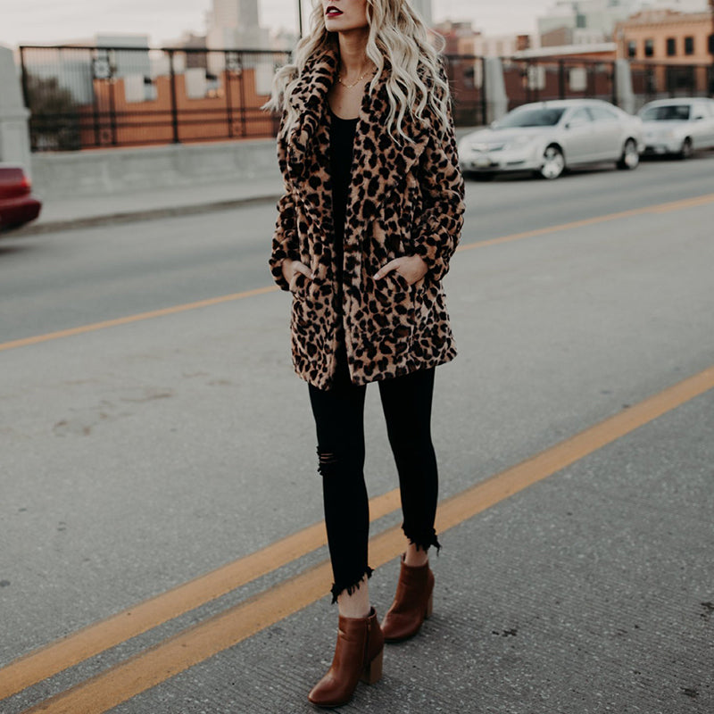 Fold Over Collar Snap Front Leopard Printed Coats