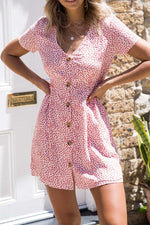 V-Neck Polka Dot Floral Dresses