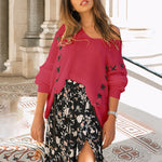 V Neck Lace Up Loose Fitting Patchwork Batwing Sleeve Sweater