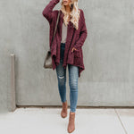 Asymmetric Hem Snap Front Plain Jacket
