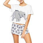 Elephant Round Neck Exposes Navel T-Shirt