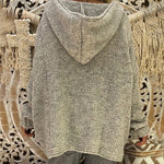 Hooded V Neck Loose Fitting Plain Sweater