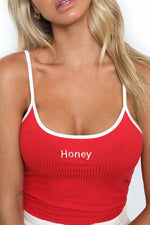 Fashion Personal Navel Vest Honey Letter Embroidery Summer Camis