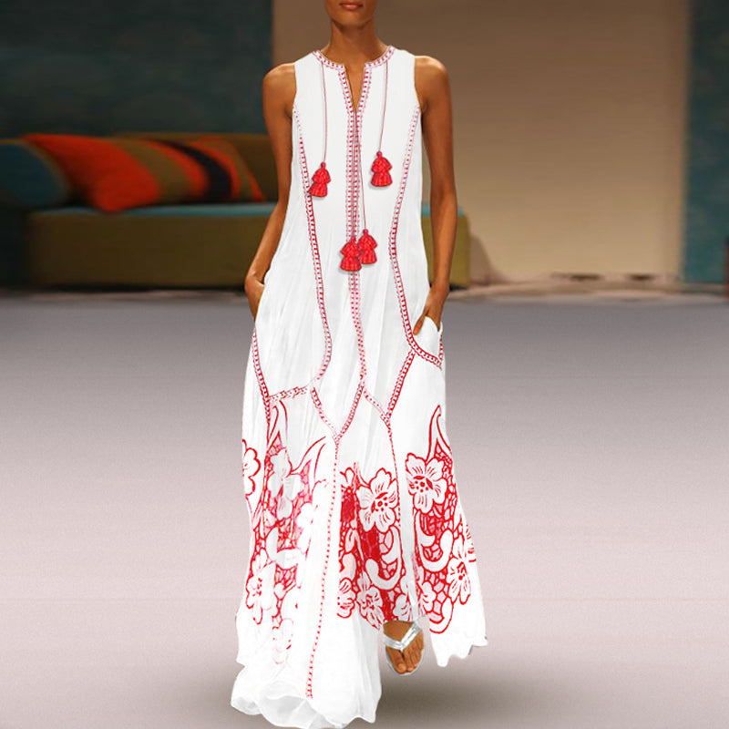 Bohemian V Neck Fringe Slit Pocket Floral Printed Maxi Dress