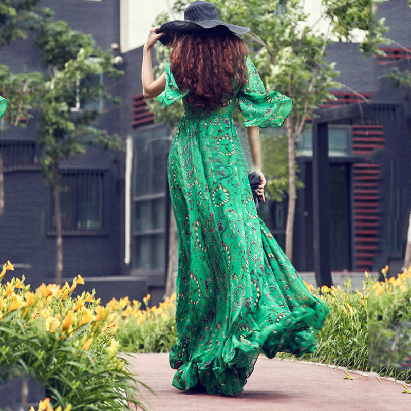 Deep V Neck Ruffled Hen Printed Half Sleeve Maxi Dress