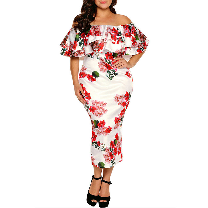 Off Shoulder Flounce Tiered Floral Printed Plus Size Dress