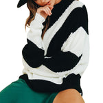 Round Neck Loose Fitting Color Block Sweater