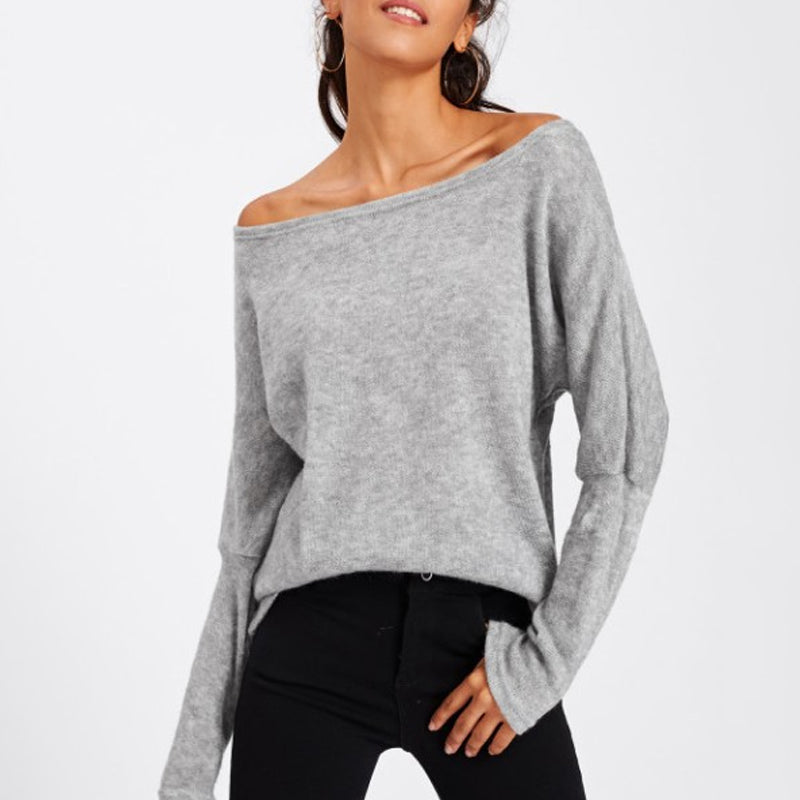 Open Shoulder Loose Fitting Plain Batwing Sleeve Sweatshirt