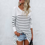 Round Neck Loose Fitting Striped T-Shirt