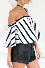 Strapless Loose Fitting Vertical Striped Blouse