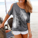 Scoop Neck Cutout Printed T-Shirt
