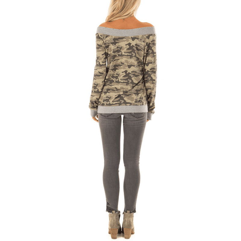 Open Shoulder Contrast Trim Camouflage Sweatshirt