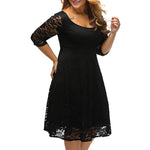Round Neck Lace Embroidery Plain Plus Size Dress