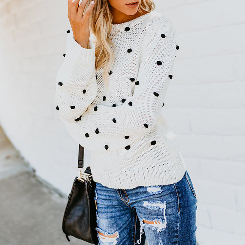 Round Neck Loose Fitting Polka Dot Sweater