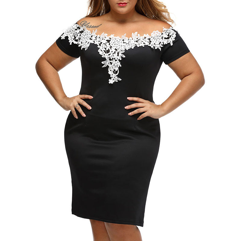 Sexy Floral Embroidery Off Shoulder Plain Plus Size Bodycon Dress