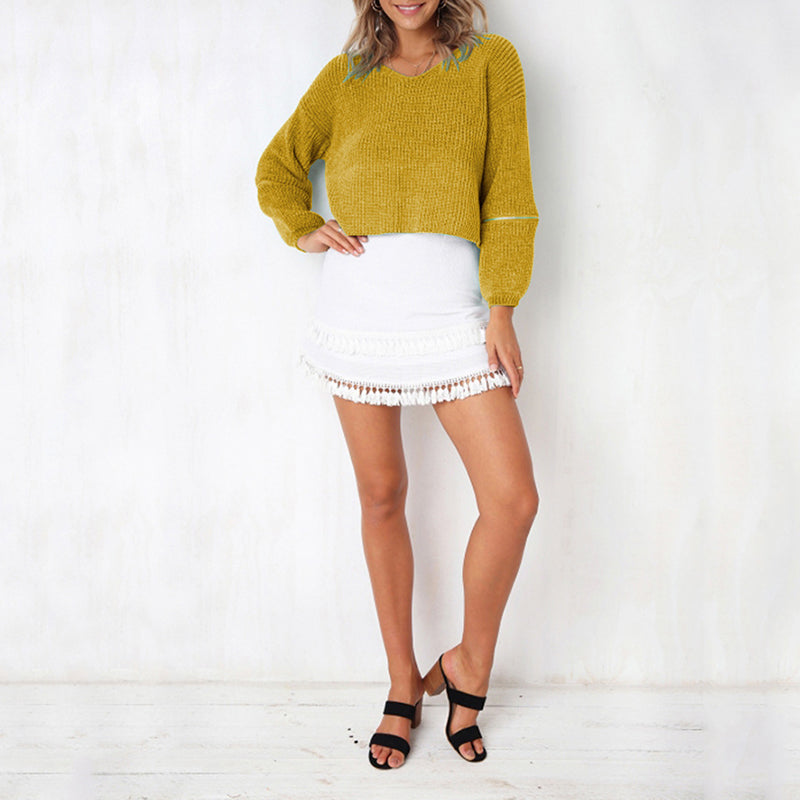 V Neck Loose Fitting Zipper Patchwork Sweater