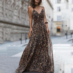 Spaghetti Strap Leopard Printed Evening Maxi Dress