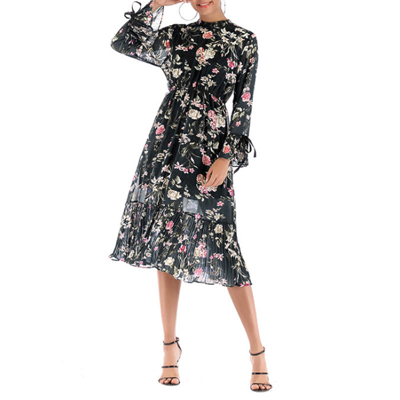 Chiffon Crew Neck Ruffled Hem Floral Printed Maxi Dress
