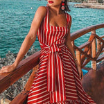 Spaghetti Strap Ruffled Hem Belt Loops Striped Maxi Dress