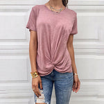 Round Neck Short Sleeve Plain Casual T-Shirts