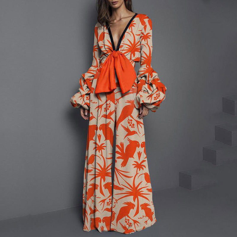 Deep V Neck Bowknot Contrast Trim Abstract Print Lantern Sleeve Jumpsuit
