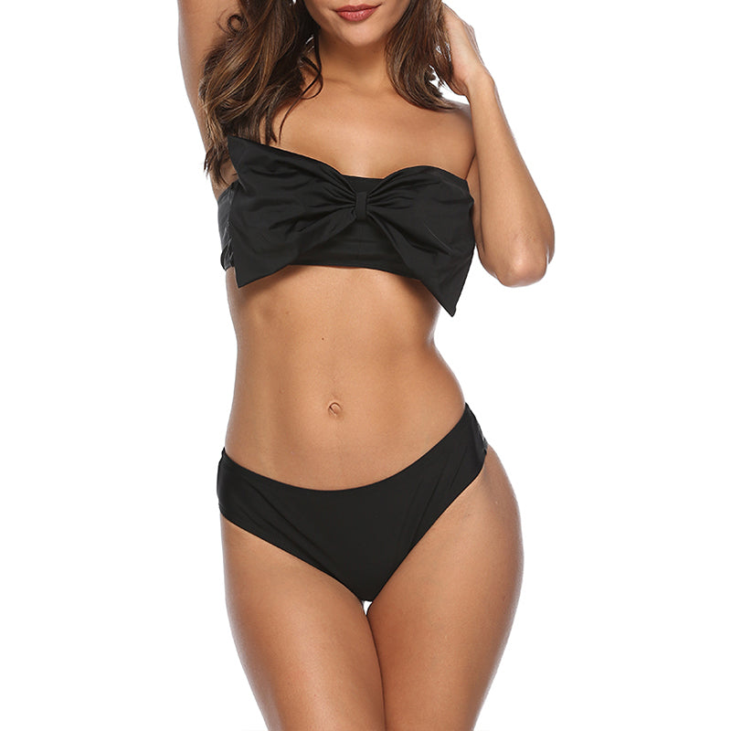 Strapless Bow Backless Plain BIkini
