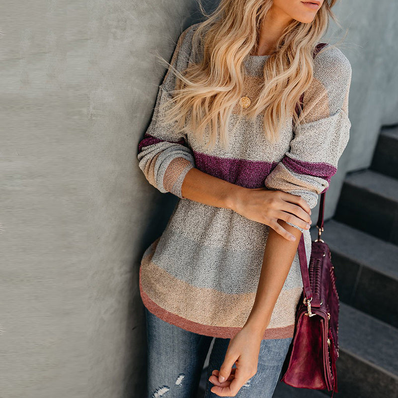 Round Neck Contrast Trim Striped Sweater