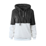 Hooed Drawstring Zipper Color Block Hoodie