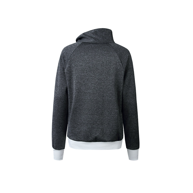 Asymmetric Neck Contrast Trim Zipper Patchwork Sweatshirt