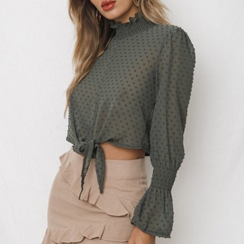 Band Collar Ruffle Trim Exposed Navel Patchwork Bell Sleeve Blouse