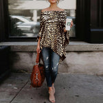 Off Shoulder Asymmetric Hem Leopard Printed T-Shirt