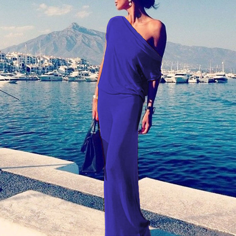 One Shoulder Plain Fitted Maxi Dress