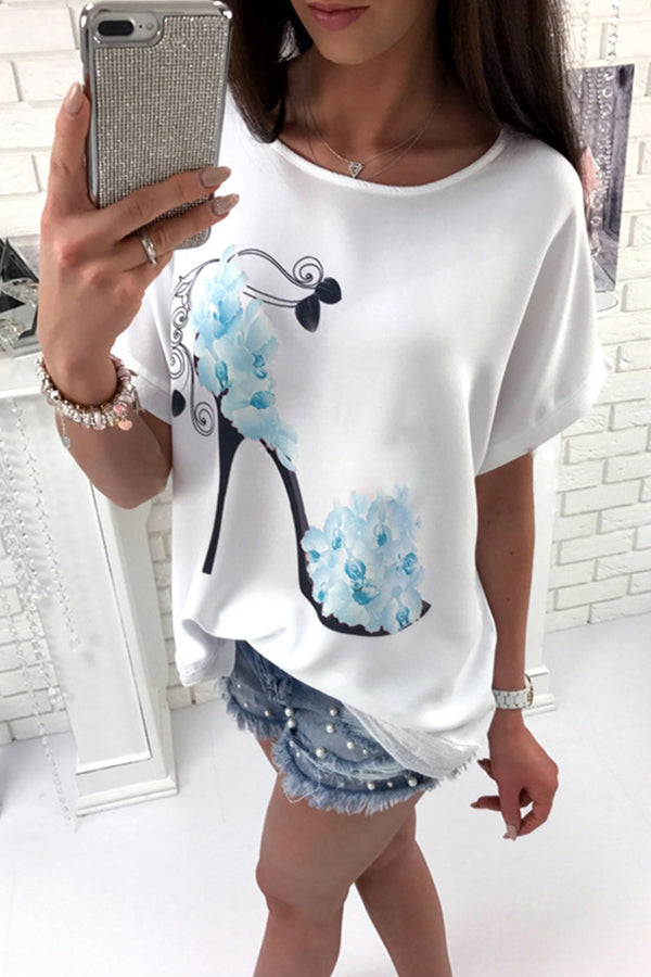 Round Neck Loose Fitting Animal Prints Floral Printed T-Shirt