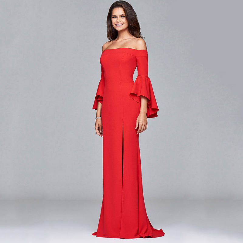 Women Sexy Flared Sleeves Evening Dress