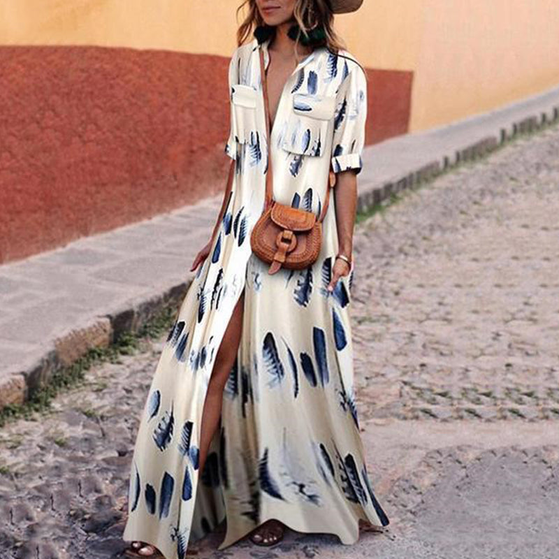 Button Down Collar Single Breasted Printed Vintage Maxi Dress