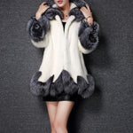 Hooded Asymmetric Hem Color Block Long Sleeve Coat