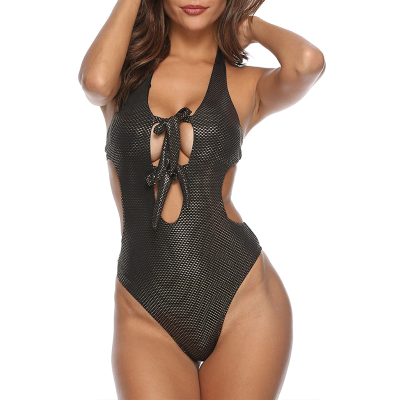 Glitter Bowknot Metallic Halter One Piece