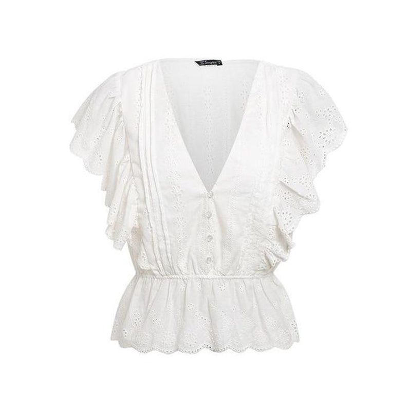 V Neck Elastic Waist Flounce Hollow Out Blouse
