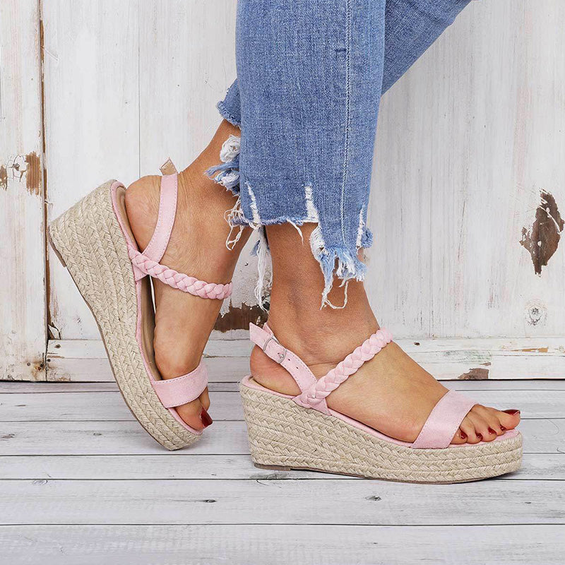 Comfy Summer Buckle Sandals Espadrilles Wedge Sandals