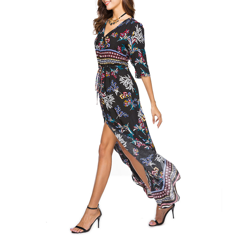 Vintage V Neck Single Breasted Belt Loops Abstract Print Vacation Maxi Dress
