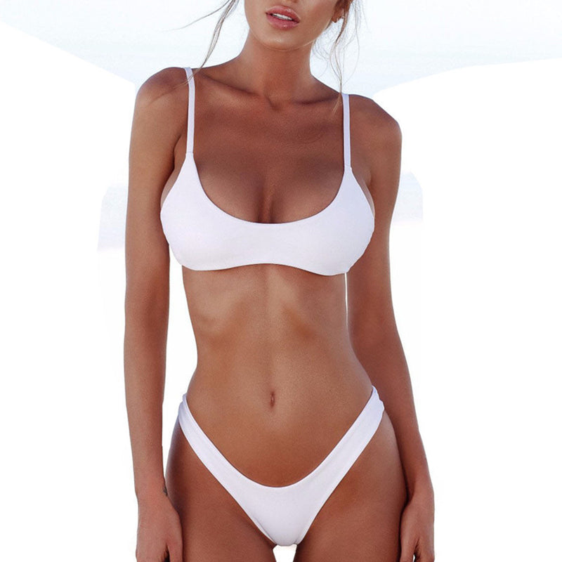 Spaghetti Strap Backless Plain Bikini