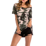 One Shoulder Contrast Trim Camouflage T-Shirt