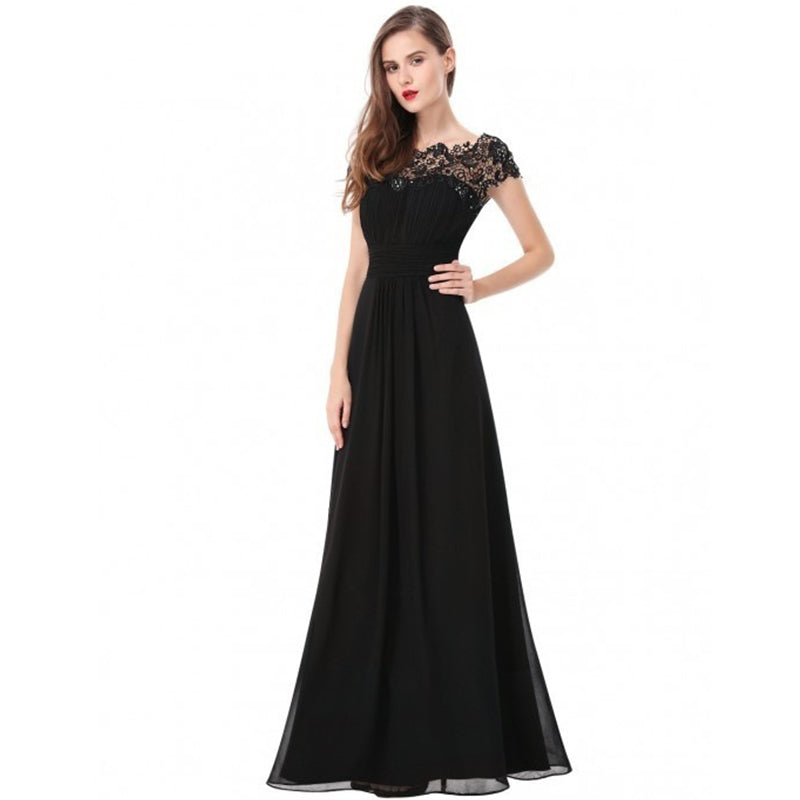 Fashion Sexy Short-Sleeved Lace Formal Dress