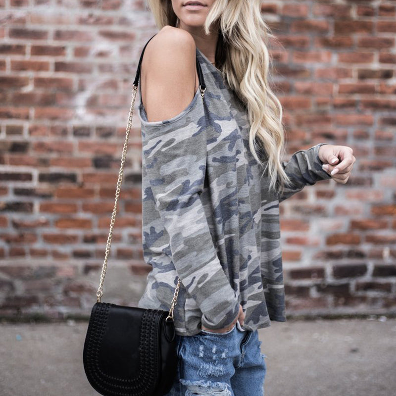 Round Neck Open Shoulder Curout Camouflage T-Shirt