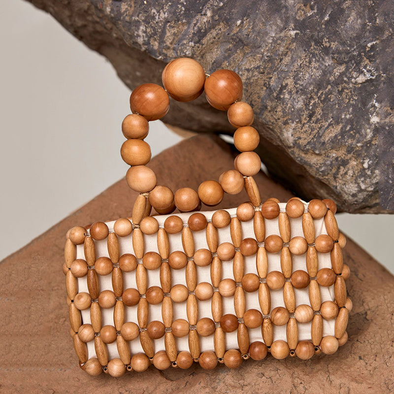 Vintage Natural Wooden Beads Hand-Woven Handbag