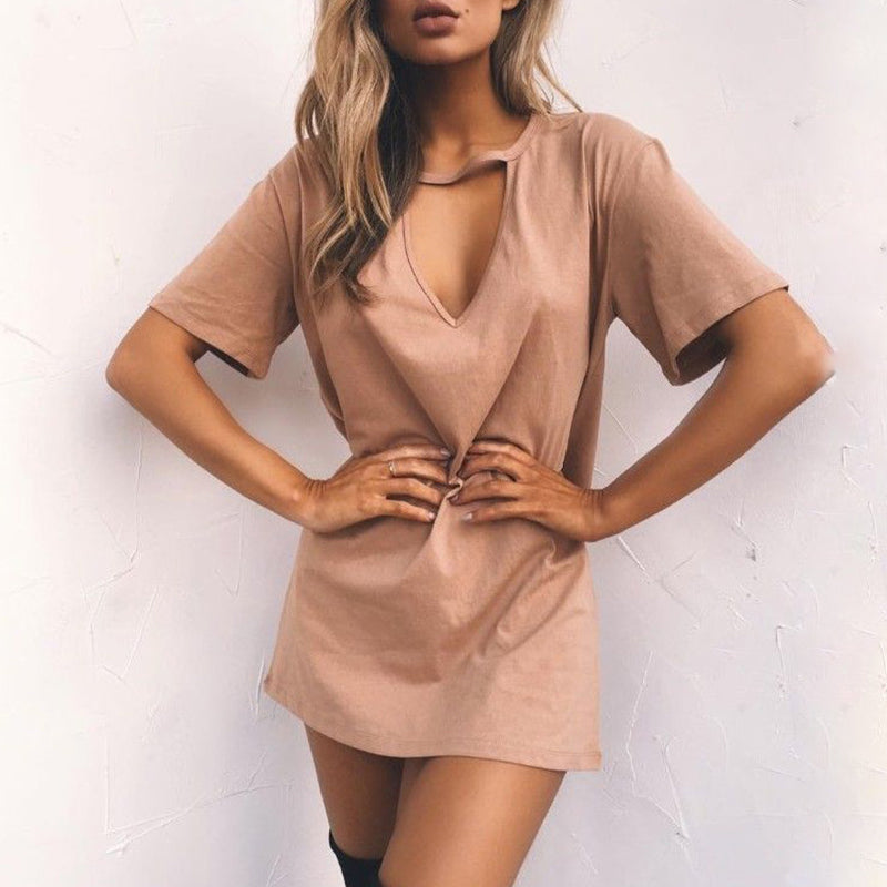 Deep V Neck Cutout Plain Shift Sundress
