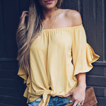 One Shoulder Batwing Bowknot T-Shirt