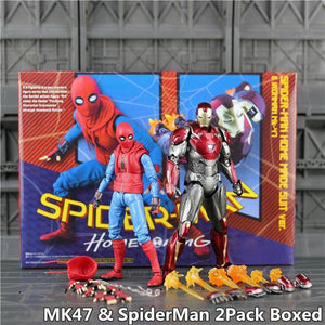 "Marvel Spiderman Homecoming 6"" Action Figure Spider man Holland Avengers Iron Man Ironman MK47 Mark47 KO's SHF Legends Toys Doll - Veve Geek"